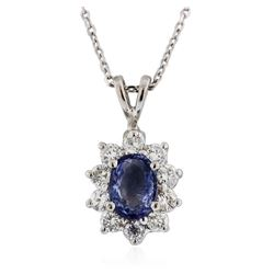 14KT White Gold 1.00 ctw Tanzanite and Diamond Pendant With Chain