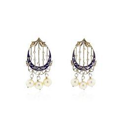 14KT White Gold Pearl and Enamel Earrings