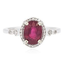 14KT White Gold 2.07 ctw Ruby and Diamond Ring