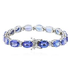 14KT White Gold 22.56 ctw Tanzanite and Diamond Bracelet