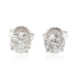 14KT White Gold 1.98 ctw Diamond Stud Earrings