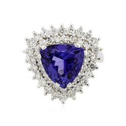 14KT White Gold 5.15 ctw Tanzanite and Diamond Ring