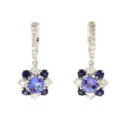14KT White Gold 1.98 ctw Tanzanite, Sapphire and Diamond Earrings
