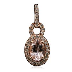 14KT Rose Gold 0.74 ctw Morganite and Diamond Pendant