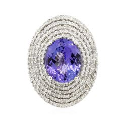 14KT White Gold 5.82 ctw Tanzanite and Diamond Ring