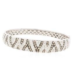 14KT White Gold 3.62 ctw Diamond Bangle Bracelet