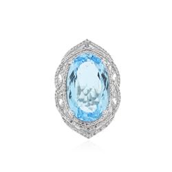 SILVER 36.28 ctw Topaz and White Sapphire Ring