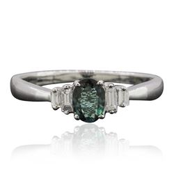 18KT White Gold 0.41 ctw Alexandrite and Diamond Ring