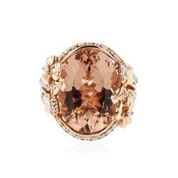 14KT Rose Gold 12.47 ctw Morganite and Diamond Ring