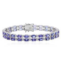 14KT White Gold 11.90 ctw Tanzanite and Diamond Bracelet