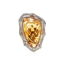 14KT Yellow Gold 18.90 ctw Citrine and Diamond Ring