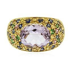 18KT Yellow Gold 4.53 ctw Pink Amethyst and Multi Gemstone Ring
