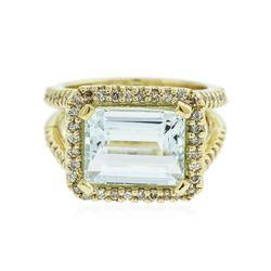 14KT Yellow Gold 5.06 ctw Aquamarine and Diamond Ring