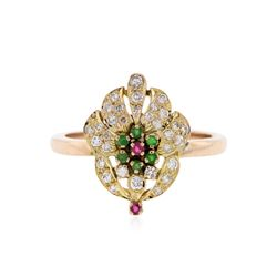 14KT Rose Gold 0.12 ctw Emerald, Ruby and Diamond Ring