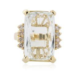 14KT Yellow Gold 11.26 ctw Aquamarine and Diamond Ring