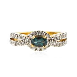 18KT Yellow Gold 0.59 ctw Alexandrite and Diamond Ring