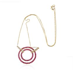 10KT Yellow Gold 2.43 ctw Ruby and Diamond Pendant With Chain