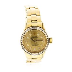 Ladies Rolex 18KT Yellow Gold Diamond Oyster Perpetual Wristwatch