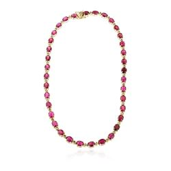 14KT Yellow Gold 52.66 ctw Ruby and Diamond Necklace