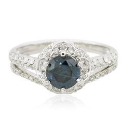 18KT White Gold 1.37 ctw Blue Diamond Wedding Ring Set
