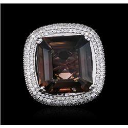 14KT White Gold 28.73 ctw Tourmaline and Diamond Ring