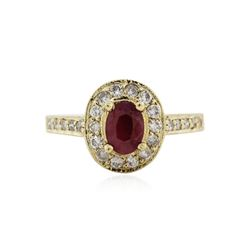14KT Yellow Gold 0.82 ctw Ruby and Diamond Ring
