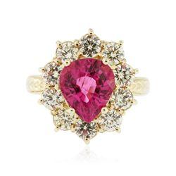 14KT Yellow Gold 2.61 ctw Tourmaline and Diamond Ring