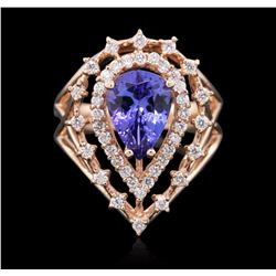14KT Rose Gold 2.39 ctw Tanzanite and Diamond Ring