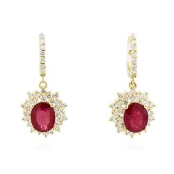 14KT Yellow Gold 5.76 ctw Ruby and Diamond Earrings