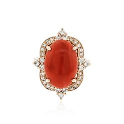 14KT Rose Gold 9.76 ctw Coral and Diamond Ring
