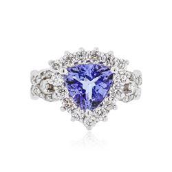 14KT White Gold 2.01 ctw Tanzanite and Diamond Ring