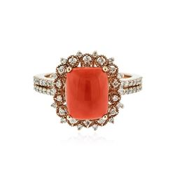 14KT Rose Gold 4.83 ctw Coral and Diamond Ring