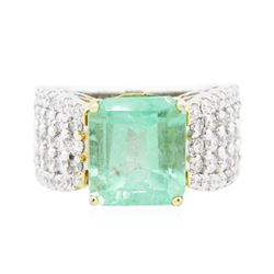 14KT Two-Tone Gold 5.97 ctw Emerald and Diamond Ring