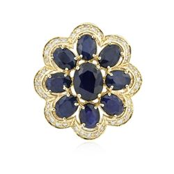 14KT Yellow Gold 10.82 ctw Sapphire Ring