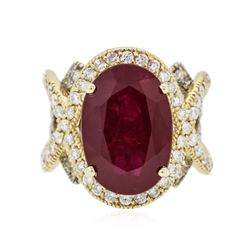 14KT Yellow Gold 13.71 ctw Ruby and Diamond Ring