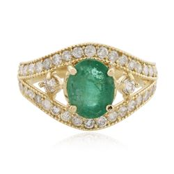 14KT Yellow Gold 1.58 ctw Emerald and Diamond Ring