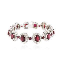 14KT White Gold 20.28 ctw Ruby and Diamond Bracelet