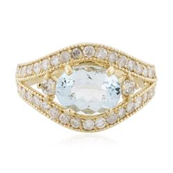 14KT Yellow Gold 1.96 ctw Aquamarine and Diamond Ring