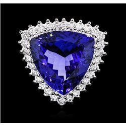 14KT White Gold GIA Certified 17.35 ctw Tanzanite and Diamond Ring