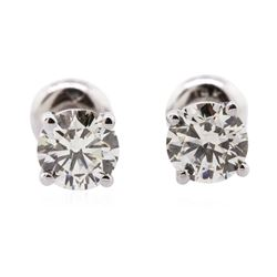 14KT White Gold 1.22 ctw Diamond Solitaire Earrings