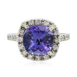 14KT White Gold 4.08 ctw Tanzanite and Diamond Ring