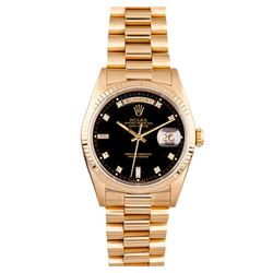 Gents Rolex 18KT Yellow Gold Diamond Presidential Day Date Wristwatch