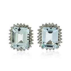 14KT White Gold 7.06 ctw Aquamarine and Diamond Earrings