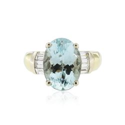 14KT Yellow and White Gold 4.93 ctw Aquamarine and Diamond Ring