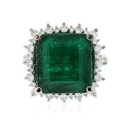 14KT White Gold 8.82 ctw Emerald and Diamond Ring