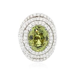 14KT White Gold GIA Certified 11.61 ctw Alexandrite and Diamond Ring