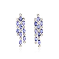 14KT White Gold 3.78 ctw Tanzanite and Diamond Earrings