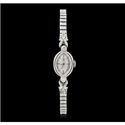 Ladies Omega Vintage Stainless Steel Diamond Wristwatch