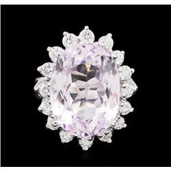 14KT White Gold 13.66 ctw Kunzite and Diamond Ring
