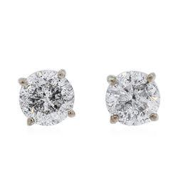 14KT White Gold 0.97 ctw Diamond Stud Earrings